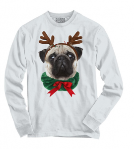 Funny Cute Pug Holiday Dog Santa Claus Puppy Ugly Christmas Long Sleeve Tee