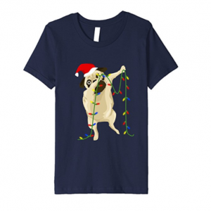 Funny Dabbing Pug Dog Santa Hat Christmas Lights Tshirt