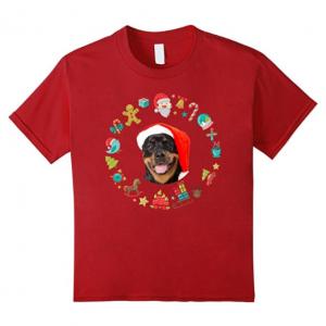 Funny Rottweiler Dog Santa Christmas T Shirt