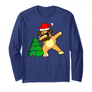 Merry Christmas Pug Dog Dabbing Dance Long Sleeve T shirt