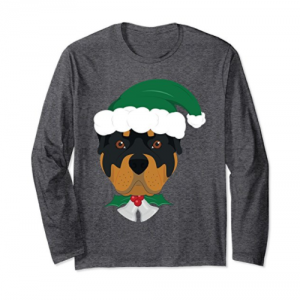 Rottweiler Dog With Green Santa's Hat and Bells Xmas Tshirt