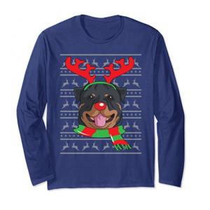 Rottweiler Long Sleeve Reindeer Christmas Gift Shirt