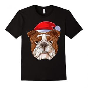 Santa English Bulldog Face T Shirt