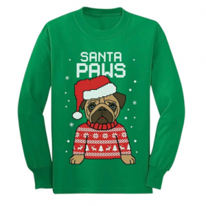 Santa Paws Pug Ugly Christmas Sweater Dog Youth Kids Long Sleeve T Shirt